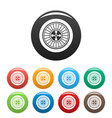 casino wheel icons set color vector image