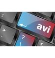 Closeup of avi key in a modern keyboard keys vector image