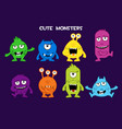 collection cute cartoon monsters vector image vector image
