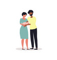 couple holding their baby vector image vector image