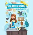 dish washing and cleaning at home vector image