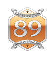 Eighty nine years anniversary celebration silver vector image vector image