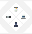 flat icon computer set of display notebook vector image vector image