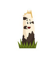 funny birch tree stump character with funny face vector image vector image