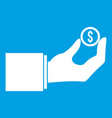 hand holding the money coin icon white vector image vector image