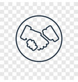 hand shake concept linear icon isolated on vector image