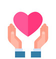 hands holding pink heart shape isolated over white vector image
