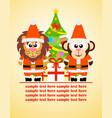 happy new year card with funny animal vector image vector image