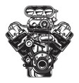 isolated monochrome car engine vector image