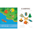 isometric summer camping concept vector image