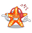 listening music starfish isolated with in the vector image