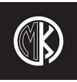mk logo with circle rounded negative space design vector image vector image