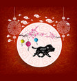 oriental chinese new year 2018 blossom and vector image vector image
