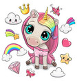 rainbow unicorn girl and set cute design vector image vector image