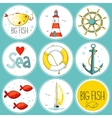 Sea set of 9 nautical elements in a circle shape vector image vector image