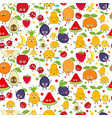 seamless pattern with cute fruits seamless vector image vector image