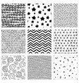 set hand-drawn pattern vector image