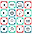set of 16 multimedia icons includes run song back vector image vector image