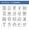 set of thin line flat icons business vector image vector image