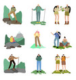 set people travelers enjoying hiking and vector image vector image