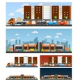 Shopping Mall And City Compositions vector image vector image