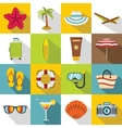 Summer rest icons set flat style vector image vector image