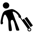 traveler baggage silhouette vector image vector image