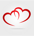 two red hearts symbol love as logo stock vector image vector image