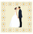 Wedding couple in Frame of flowers vector image
