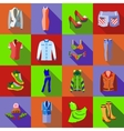 Woman clothes icons set flat style vector image vector image
