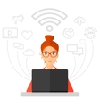 Woman working on laptop vector image vector image