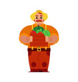 young farmer with ripe vegetables and fruits in vector image vector image
