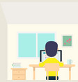 young man work in his room with laptop and cup vector image vector image