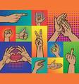 hand pointing finger pop art arm gestures retro vector image