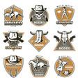 colorful vintage rodeo labels set vector image