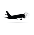 airplane black silhouette sticker vector image vector image