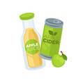apple juice and cider in glass bottle and can vector image vector image