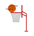 basketball ball spinning on a net vector image vector image