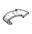 bent arrow hand drawn sketch vector image