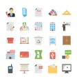 business and office flat icons set vector image vector image