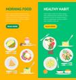 cartoon breakfast menu banner vecrtical set vector image vector image
