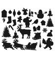 christmas black silhouettes isolated vector image