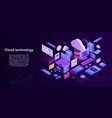 cloud technology storage concept banner isometric vector image vector image