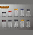 coffee jars realistic transparent vector image vector image