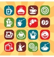 color coffee and tee icons vector image