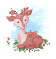 cute cartoon deer with roses in horns vector image vector image