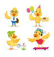 cute duckling enjoying different actions vector image vector image