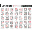 data science complex thin red black line icon vector image vector image