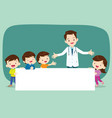 doctor and children boyand girl with banner vector image