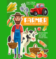 farmer cattle and farming agriculture poster vector image vector image